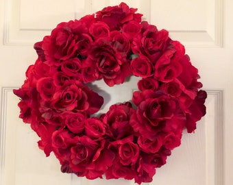 Valentine Wreath, Rose Wreath, Romantic Wreath, Red Rose Wreath, Floral  Wreath,