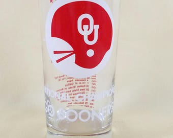 Go Sooners! ~ Beer Glass ~ Oklahoma University ~ National Champions ~ Pint Glass ~ Water Glass ~College Memorabilia  Seths Vintage Emporium