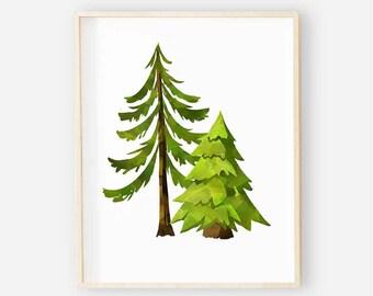 Woodland Nursery Digital Print | Nursery Wall Art | Tree Wall Art | Forest Tree Baby Boy Nursery Decor | Forest Trees Digital Art 1