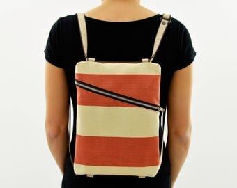 Backpack shoulder bag//striped handbag//BeesBag//ipad case//Eco friendly//vegan bag//gift for her//handmade//Comunicareineco