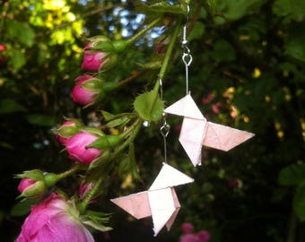 "Earrings ""cocotte"" origami rose clear sequin"