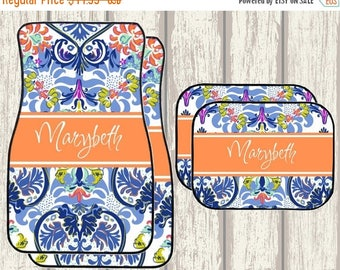 SALE Chelsea Floral Damask Design Personalized Car Mats - Choice of 18 Patterns, Frame, Monogram - Exclusive Design by Mary Beth Goodwin