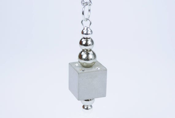 Necklace concrete cubes with silver balls and rhinestones concrete jewelry on silver-colored links chain concrete cubes concret Jewelry