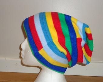Stripey Polar Fleece Slouchy Hat - Beanie Hat - Slouch Hat - Winter Hat - Fleece Cap - Buff - Winter Headwear - Bobble Hat - Dreadlocks