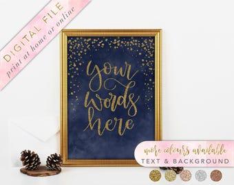 Custom Wedding Sign, Printable, Navy and Gold Custom Sign, Custom Lettering, Printable Wedding Signage, Custom Signage, Modern Calligraphy
