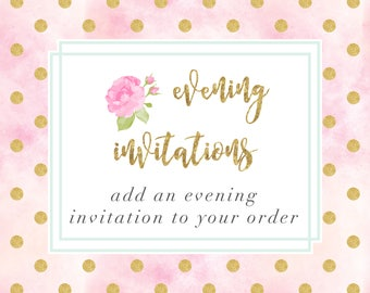 Evening Invitations Add On for Printable Invitations, Printable Wedding Invitation Set, Custom Wedding Invitations,