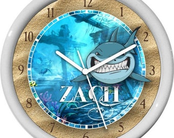 Shark Under the Sea FGun Personalized Childrens Wall Clock Gift