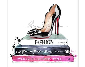 Christian Louboutin Print, Louboutins, louboutin print, Fashion print, Fashion Illustration, Fashion Wall Art, christian louboutin wall art