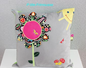 "Cushion cover 40/40 ""Flower"" theme decor. child's room."
