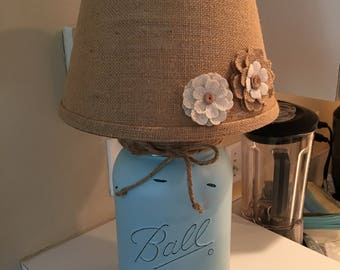 Mason Jar Lamp, Electric, Painted, Distressed, with Coordinating Lamp Shade