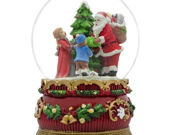 "6"" Santa Claus Giving Kids Christmas Gifts around Tree Music Box Snow Globe"