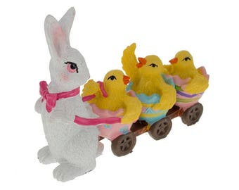 "4"" Bunny Pulling 3 Chic's Easter Figurine"