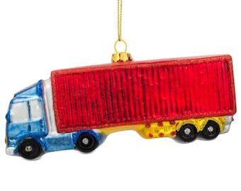 """5.5"""" (L) Semi Truck Driver Blown Glass Christmas Ornament"""