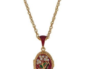 "Flower Basket Russian Royal Egg Pendant Necklace 22"""