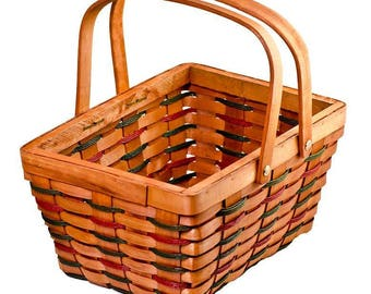 Woodchip Red & Green Weave Basket