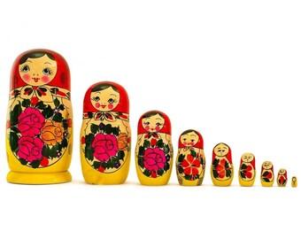 10'' Set of 9 Traditional Semenov Wooden Russian Nesting Dolls