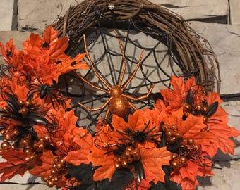Halloween Wreath with Spiderweb