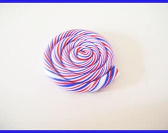 Red white blue polymer fimo clay lollipop cabochon