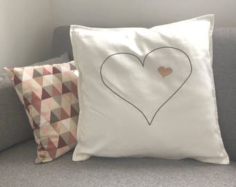 Cushion personalised two hearts (cover)