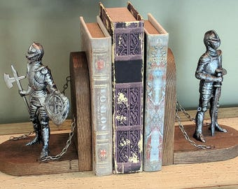 RARE Vintage Medieval Knight Dressed Suit of Armor with Sword Ax Chains Drawbridge Castle Wall Rook Design Wood Bookends Book Ends Library
