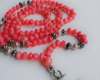 Coral & Freshwater Pearl All-One Necklace