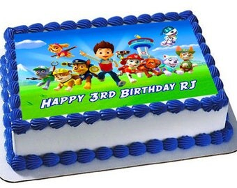 Paw Patrol Edible Cake Topper, Premium frosting sheet, Paw Patrol Birthday Party,Robo Dog