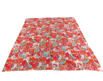 Paisley Design Indigo Handmade Kantha Throw Bedspread Reversible Vintage Quilt in Red Color