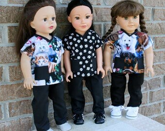 18 Inch Doll Clothes, Veterinarian, Vet Tech Scrubs, Uniform