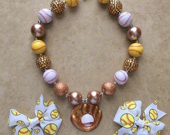 Softball Bubblegum Necklace and Set of Bows - You choose options!