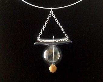 Geometric necklace, Blown glass pendant, Blown glass necklace, Glass bubble pendant, Modern choker, Natural cork, Boho necklace, Bold choker
