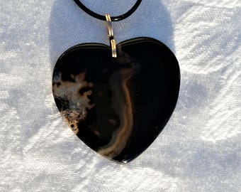 Black Agate Heart Necklace