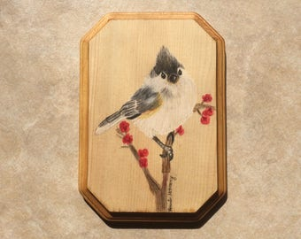 "Tufted Titmouse 7x5"" Wooden Wall Plaque"