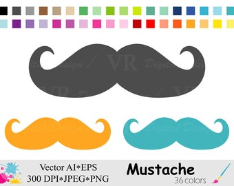 Mustache Clipart, Rainbow Moustache Digital Clipart, Fathers Day Clip art, Planner Stickers,  Dad Vector Clipart