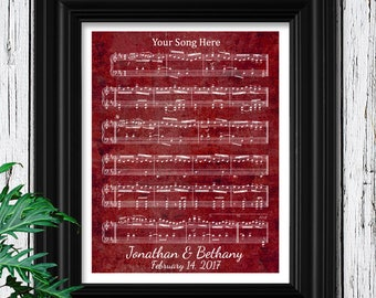 Romantic Valentines Day Gift for Her | First Dance Sheet Music Wall art Wife Gift | Love Song Cotton Paper Anniversary Gift for Wife