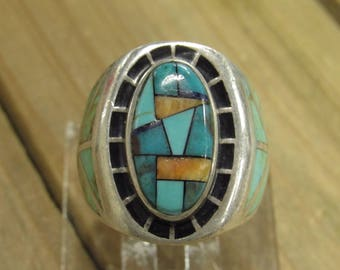 Vintage Multi-Color Inlay Sterling Silver Ring Size 11
