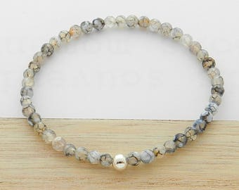 Agate stone and silver ball bracelet