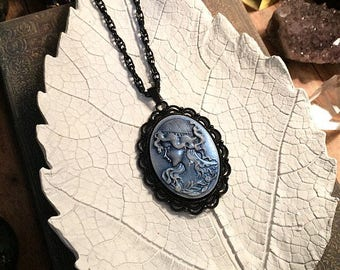 SALE! Vintage cameo necklace // blue cameo necklace // gothic necklace // gothic cameo necklace // black gothic necklace