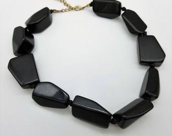 "Vintage Chunky Black Plastic Beaded Adjustable Necklace  - 16-19"""