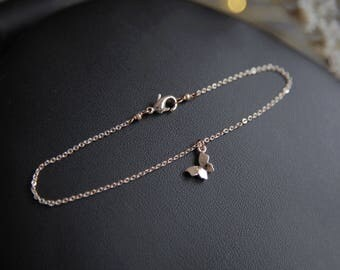 Tiny Butterfly Bracelet, Tiny Rose Gold Bracelet, Rose Gold Butterfly Bracelet, Skinny Rose Gold Bracelet, Skinny Bracelet, Gift for Girls