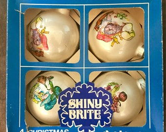 Poloron Shiny Brite Vintage Christmas Ornament Set of 4