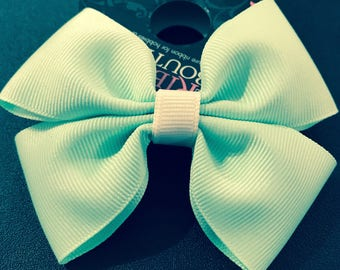 Mint Green Double Hair Bow (pair)