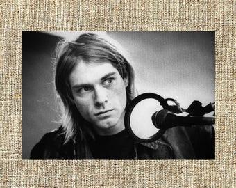 Kurt Cobain photograph, black and white photo print, vintage photograph, rip Kurt Cobain, rock music decor, gift for him, Nirvana grunge