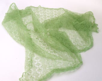 Vintage Soft Green Mohair Broomstick Crochet Shawl