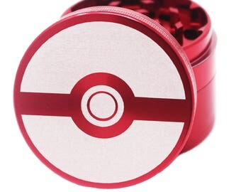 "Herb Grinder Laser Engraved - Red  - 2.2"" Inch 4 Piece"