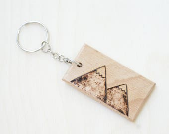 mountains keychain pyrography mountain keychain wooden keychain wood burned keychain ecologic keychain