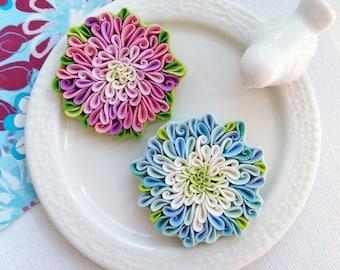 Flower brooch Flower girl gift Aster brooch polymer clay flower purple blue Flower pin purple blue Flowers Flower accessories floral brooch