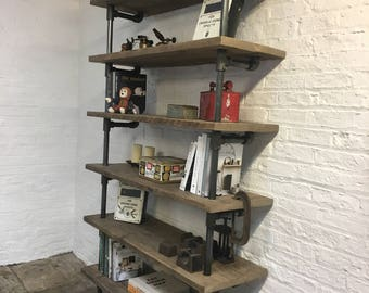 Annabel Bespoke Reclaimed Scaffolding Boards and Dark Steel Pipe Shelving/Bookcase - made to order furniture by www.urbangrain.co.uk