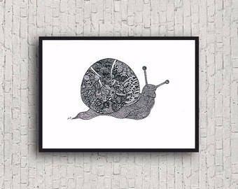 Zentangle A4 Snail Art print