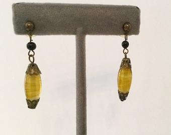 Vintage Amber Czech Glass Drop Earrings