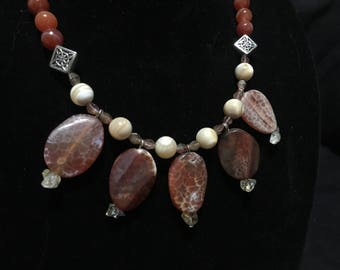 Red Agate Multi-Pendant Necklace